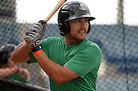 Daytona Tortugas shortstop Alex Blandino (5) in the batting cage during practice before a game against the Tampa Yankees on April 24, 2015 at George M. Steinbrenner Field in Tampa, Florida.  Tampa defeated Daytona 12-7.  (Mike Janes/Four Seam Images)