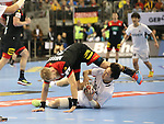 10.01.2019, Mercedes Benz Arena, Berlin, GER, Handball WM 2019, Deutschland vs. Korea, im Bild <br /> Matthias Musche (GER #37), KANG Tan (Korea #7)<br /> <br />      <br /> Foto © nordphoto / Engler