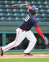 April 7, 2009: Michael Almanzar of the Greenville Drive hits in a game against Wofford College on Tuesday, April 7, 2009, at Fluor Field in Greenville. Photo by:  Tom Priddy/Four Seam Images