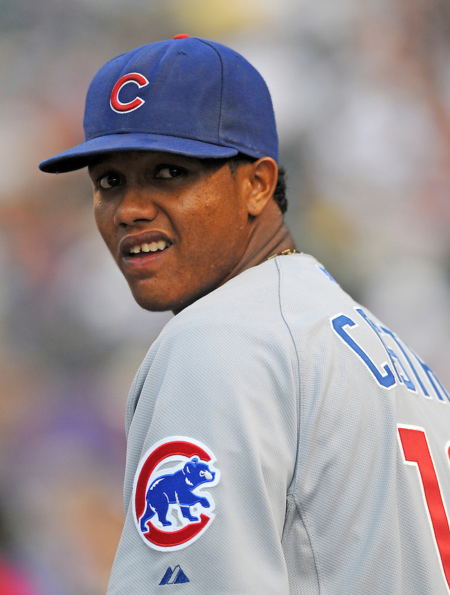 31 JULY 2010: Chicago Cubs shortstop Starlin Castro (13) during a regular season Major League Baseball game between the Colorado Rockies and the Chicago Cubs at Coors Field in Denver, Colorado. The Rockies beat the Cubs 6-5.  *****For Editorial Use Only*****