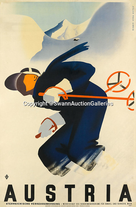BNPS.co.uk (01202)558833Pic:  SwannAuctionGalleries/BNPS<br /> <br /> Austria.<br /> <br /> A stunning collection of vintage ski posters depicting the halcyon days of European winter holidays has emerged for sale for £70,000. ($90,000)<br /> <br /> The superb selection features early lithograph prints of advertising posters for glamorous resorts including Davos and Chamonix.<br /> <br /> The earliest posters in the sale date from the turn of the 20th century, with the most recent examples from the 1950s.<br /> <br /> Sixty-two posters, which range in value from a few hundred pounds to £5,000, are being sold by Swann Galleries, who are based in New York.