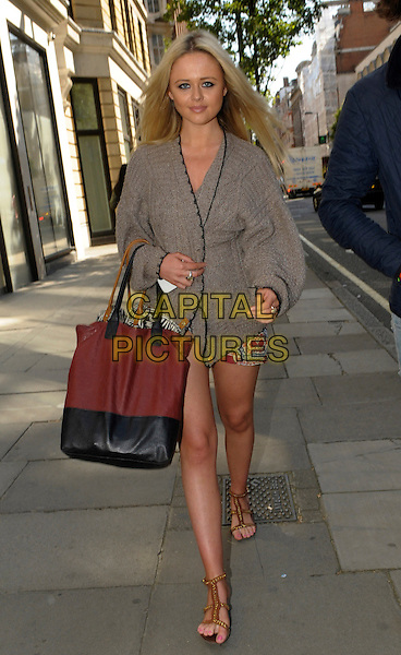 Emily Atack.Spotted in central London, England..5th September 2012.full length grey gray blazer black maroon burgundy bag purse cardigan sandals .CAP/IA.©Ian Allis/Capital Pictures.