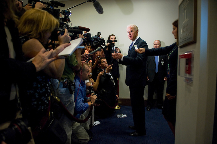 UNITED STATES - AUGUST 01:  Vice President Joe Biden talks to reporters in the Capitol Visitor Center after a meeting with the House Democratic caucus on the ongoing debt ceiling talks.  Votes in the House and Senate are expected today on a deal that would raise the ceiling and lower the national debt.  (Photo By Tom Williams/Roll Call)