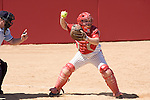 MADISON, WI - APRIL 16: Catcher Joey Daniels #3 of the Wisconsin Badgers softball team throws the ball against the Indiana Hoosiers at Goodman Diamond on April 16, 2007 in Madison, Wisconsin. (Photo by David Stluka)