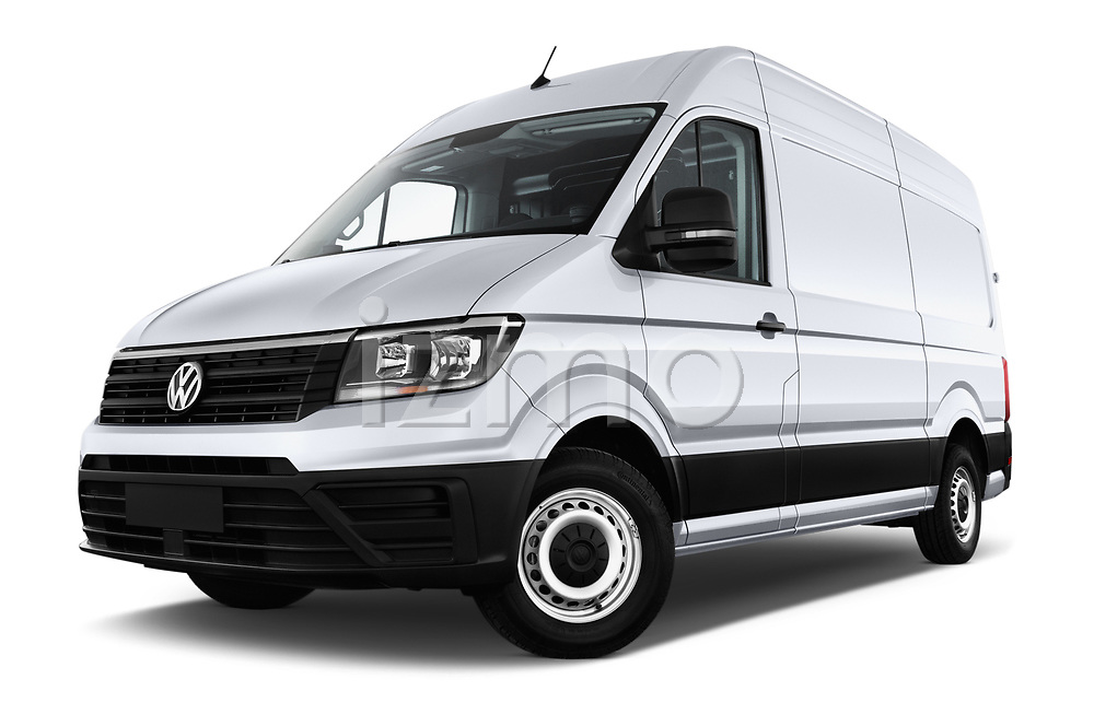Stock pictures of low aggressive front three quarter view of a 2017 Volkswagen Crafter Base 4 Door Cargo Van