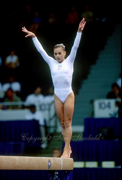 July 19, 1998; New York, NY, USA;  Artistic gymnasts Dominique Moceanu of USA performs on balance beam  on way to winning All-Around gold medal at 1998  Goodwill Games New York. Copyright 1998 Tom Theobald