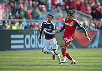 02 April 2011: Chivas USA defender Heath Pearce #3 and Toronto FC forward Alan Gordon #21 in action during an MLS game between Chivas USA and the Toronto FC at BMO Field in Toronto, Ontario Canada..The game ended in a 1-1 draw.