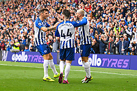 Neal Maupay of Brighton and Hove Albion right celebrates his goal during Brighton & Hove Albion vs Tottenham Hotspur, Premier League Football at the American Express Community Stadium on 5th October 2019