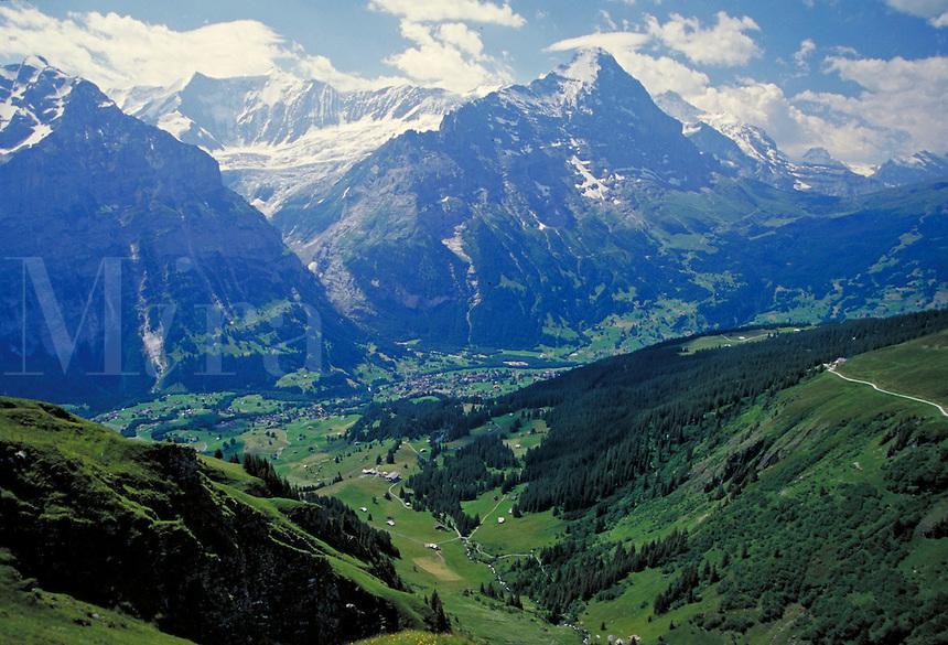 The Swiss Alps, Switzerland. alpine landscape, mountains, geography. Switzerland.