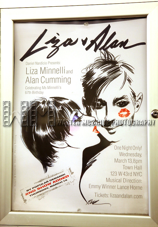 Theatre Marquee for the Liza & Alan Concert at Town Hall in New York City on 3/13/2013. Nightlife impresario Daniel Nardicio brings Liza Minnelli and Alan Cumming to the Manhattan stage for the first time in celebration of her 67th Birthday..