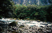 Hollyford river as seen from the road to Milford Sound, Fiordland National Park, South Island, New Zealand.