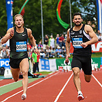 25.05.2019, Mösle / Moesle - Stadion, Götzis / Goetzis, AUT, 45. Hypomeeting Goetzis 2019, Zehnkampf, 100 m, <br /> im Bild Janek Oiglane (EST), Tim Nowak (GER)<br /> <br /> Foto © nordphoto / Hafner