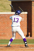 Cody Manzella (13) of the High Point Panthers at bat against the Bowling Green Falcons at Willard Stadium on March 9, 2014 in High Point, North Carolina.  The Falcons defeated the Panthers 7-4.  (Brian Westerholt/Four Seam Images)