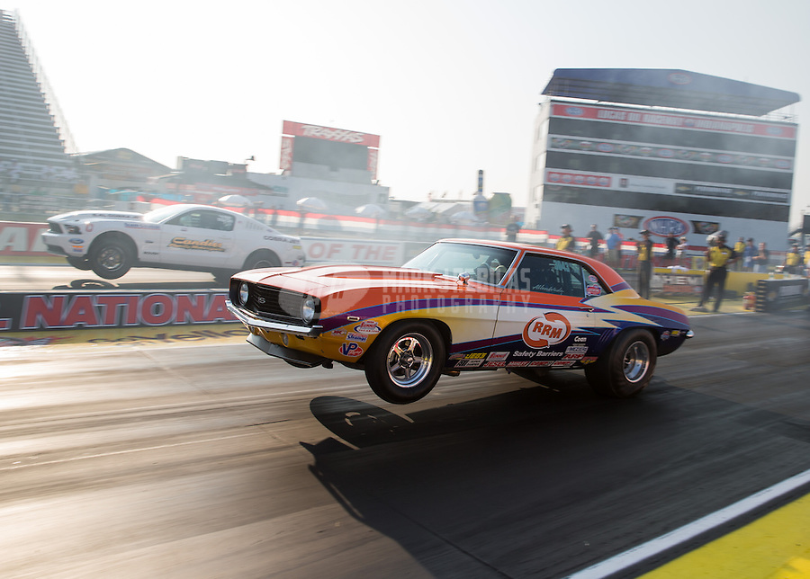 Aug. 30, 2013; Clermont, IN, USA: NHRA super stock driver Allen Wade during qualifying for the US Nationals at Lucas Oil Raceway. Mandatory Credit: Mark J. Rebilas-