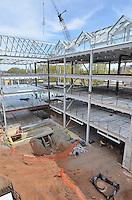 Camera View: East-southeast. North Elevation. Central Connecticut State University. New Academic Building.  Project No: BI-RC-324. Architect: Burt Hill Kosar Rittelmann Associates. Contractor: Gilbane Building Company, Glastonbury, CT.