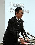 August 12, 2016, Tokyo, Japan - Japanese electronics giant Toshiba CFO Masayoshi Hirata arrives at a press conference to announce the company's first quarter financial result in Tokyo on Friday, August 12, 2016. Toshiba posted posted 79.8 billion yen for net income, inclusing 92.1 billion yen from the year earlier period, including 83.9 billion yen as profit on the sale of Home Appliances business to Chinese company.    (Photo by Yoshio Tsunoda/AFLO) LWX -ytd-