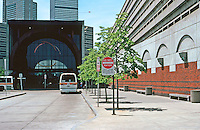 Boston: Metro Station. Benches along Art Deco wall next to terminal.  Photo '91.