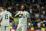 Real Madrid's Marcelo Vieira celebrates goal during UEFA Champions League match between Real Madrid and FC Viktoria Plzen at Santiago Bernabeu Stadium in Madrid, Spain. October 23, 2018. (ALTERPHOTOS/A. Perez Meca)