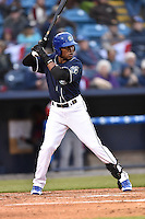 Asheville Tourists designated hitter Randy Reyes (22) awaits a pitch during a game against the Greenville Drive on April 16, 2015 in Asheville, North Carolina. The Tourists defeated the Drive 5-4. (Tony Farlow/Four Seam Images)