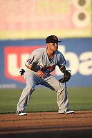 Jorge Flores (1) of the Visalia Rawhide in the field at shortstop during a game against the Lancaster JetHawks at The Hanger on August 9, 2017 in Lancaster, California. Lancaster defeated Visalia, 7-4. (Larry Goren/Four Seam Images)