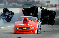 Aug. 31, 2012; Claremont, IN, USA: NHRA pro stock driver Shane Gray during qualifying for the US Nationals at Lucas Oil Raceway. Mandatory Credit: Mark J. Rebilas-