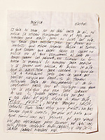 Letter from Edison Pena to Angelica Alvarez...Edison Pena was the 12th miner to be freed from the San Jose mine in Chile where 33 miners were trapped for 69 days. He was the first to return home from hospital.