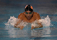 Feb 22, 2015; Whittier, CA, USA; Kevin Kuwata of Occidental College competes in the 200-yard breaststroke at the SCIAC swimming championships at Whittier College. Photo by Kirby Lee