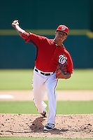Washington Nationals pitcher Jhonatan German (34) during an Instructional League game against the Atlanta Braves on September 30, 2016 at Space Coast Stadium in Melbourne, Florida.  (Mike Janes/Four Seam Images)