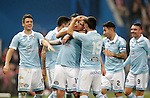 Celta de Vigo's Nemanja Radoja, Pablo Hernandez, John Guidetti, Jonny Castro, Hugo Mallo and Iago Aspas celebrate goal during Spanish Kings Cup match. January 27,2016. (ALTERPHOTOS/Acero)