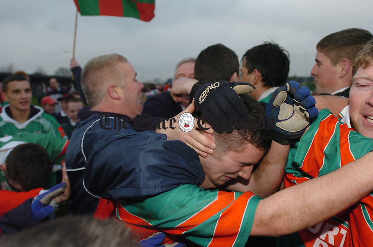 An emotional Shane Hickey is celebrated after the Kilmurry Ibrickane win after  the the AIB Munster Club senior Football Final replay in Kilmallock. Photograph by John Kelly.