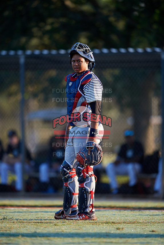 Darius Perry during the WWBA World Championship at the Roger Dean Complex on October 20, 2018 in Jupiter, Florida.  Darius Perry is a catcher from La Miranda, California who attends La Miranda High School and is committed to UCLA.  (Mike Janes/Four Seam Images)