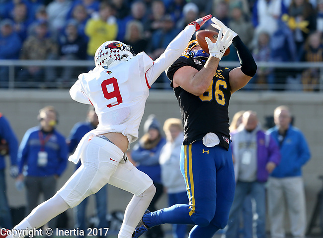 BROOKINGS, SD - NOVEMBER 11: Dallas Goedert #86 from South Dakota State University hauls in a touchdown pass against Mitchell Brees #9 from Illinois State during their game Saturday afternoon at Dana J. Dykhouse Stadium in Brookings. (Photo by Dave Eggen/Inertia)