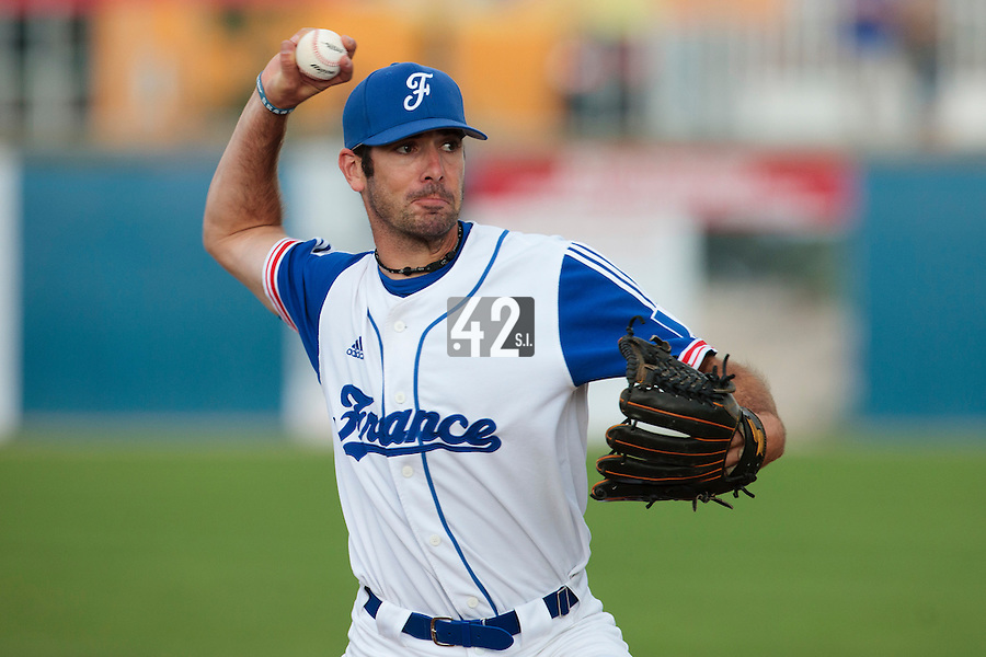 25 july 2010: Pierrick Le Mestre of France pitches against Czech Republic during France 6-1 victory over Czech Republic, in day 3 of the 2010 European Championship Seniors, in Neuenburg, Germany.