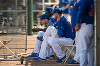 Chicago Cubs coaches during a Minor League Spring Training game against the Colorado Rockies at Sloan Park on March 27, 2018 in Mesa, Arizona. (Zachary Lucy/Four Seam Images)