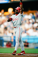 Ron Gant of the Philadelphia Phillies during a game against the Los Angeles Dodgers at Dodger Stadium circa 1999 in Los Angeles, California. (Larry Goren/Four Seam Images)
