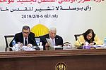 Palestinian President Mahmoud Abbas chairs the revolutionary council meeting of Fatah movement at the Palestinian Presidential Office in the West Bank city of Ramallah, February 6, 2019. Photo by Ahmad Arouri