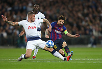 Barcelona's Lionel Messi with a second half shot under pressure from Tottenham Hotspur's Toby Alderweireld<br /> <br /> Photographer Rob Newell/CameraSport<br /> <br /> UEFA Champions League Group B - Tottenham Hotspur v Barcelona - Wednesday 3rd October 2018 - Wembley Stadium - London<br />  <br /> World Copyright © 2018 CameraSport. All rights reserved. 43 Linden Ave. Countesthorpe. Leicester. England. LE8 5PG - Tel: +44 (0) 116 277 4147 - admin@camerasport.com - www.camerasport.com
