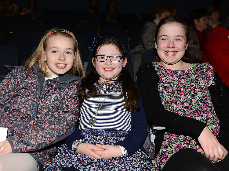 Emer Fagan, Ellen Donnelly and Rebecca Walsh pictured at the Augustinian Gospel Choir show at the Barbican Centre. Photo:Colin Bell/pressphotos.ie