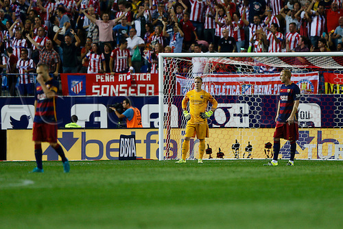 12.09.2015. Madrid, Spain.  FC Barcelona's Marc-Andre Ter Stegen (Goalkeeper) unhappy about conceding the goal during a Spanish La Liga soccer match between  Atletico de Madrid versus  FC Barcelona at the Vicente Calderon stadium in Madrid, Spain, September 12, 2015.