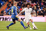 Real Madrid's Marcelo and Celta de Vigo's Daniel Wass during Copa del Rey match between Real Madrid and Celta de Vigo at Santiago Bernabeu Stadium in Madrid, Spain. January 18, 2017. (ALTERPHOTOS/BorjaB.Hojas)