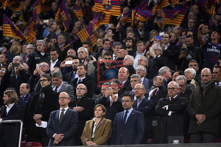 UEFA Champions League 2016/2017.<br /> Round of 16 2nd leg<br /> FC Barcelona vs Paris Saint-Germain: 6-1.<br /> Julen Lopetegui, Jordi Cardoner, Carme Forcadell &amp; Josep M. Bartomeu.