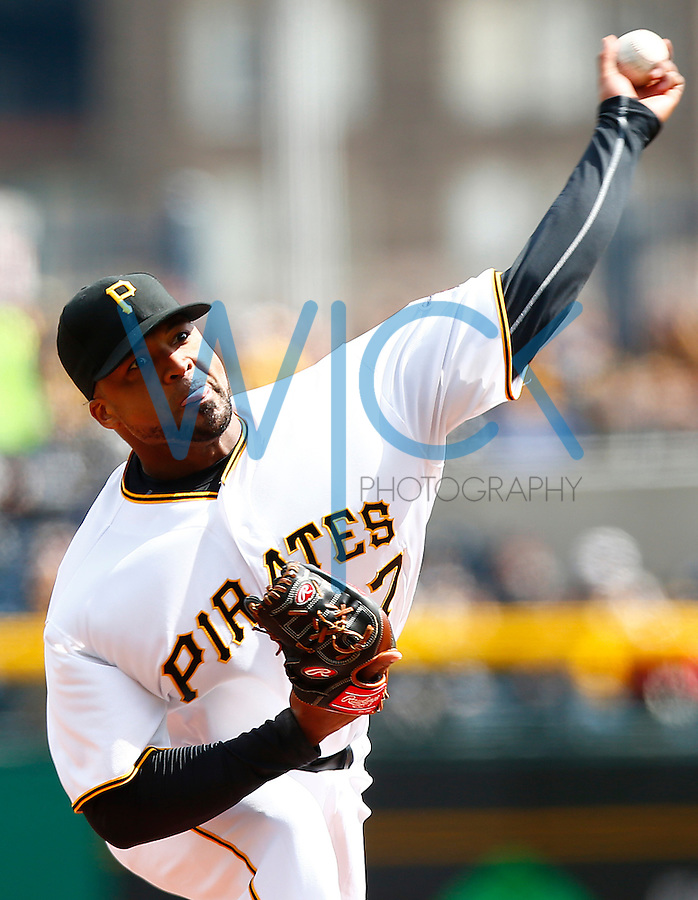 Francisco Liriano #47 of the Pittsburgh Pirates pitches against the St. Louis Cardinals during the Opening Day game at PNC Park in Pittsburgh, Pennsylvania on April 3, 2016. (Photo by Jared Wickerham / DKPS)