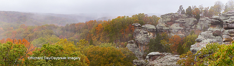 63895-15515 Camel Rock foggy fall day Garden of the Gods Recreation Area Shawnee National Forest IL