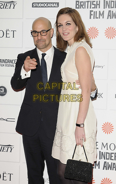 LONDON, ENGLAND - DECEMBER 08:  Stanley Tucci &amp; Felicity Blunt  at the Moet British Independent Film Awards 2013, O at the Moet British Independent Film Awards 2013, Old Billingsgate Market, Lower Thames St., on Sunday December 08, 2013 in London, England, UK.<br /> CAP/CAN<br /> &copy;Can Nguyen/Capital Pictures
