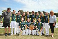 Heaton Intermediate celebrate winning the National Primary School Cricket Cup at the Bert Sutcliffe Oval, Lincoln University, Christchurch, New Zealand. Saturday 25 November 2017. Photo: Martin Hunter/www.bwmedia.co.nz