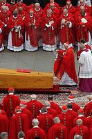 Roma 8/4/2005 St Peter's square<br /> <br /> Rome - Vatican City, 8-4-2005: John Paul II's funeral in piazza San Pietro. Cardinal Joseph Ratzinger blesses John Paul II coffin<br /> <br /> Funerali del Papa Giovanni Paolo II <br /> <br /> Foto Rap Insidefoto