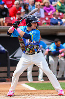 Wisconsin Timber Rattlers first baseman KJ Harrison (24) at bat during a Midwest League game against the Great Lakes Loons on May 12, 2018 at Fox Cities Stadium in Appleton, Wisconsin. Wisconsin defeated Great Lakes 3-1. (Brad Krause/Four Seam Images)