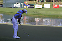 Rafael Cabrera-Bello (ESP) finishes his match on the 18th hole during Sunday's Final Round of the 2012 Omega Dubai Desert Classic at Emirates Golf Club Majlis Course, Dubai, United Arab Emirates, 12th February 2012(Photo Eoin Clarke/www.golffile.ie)