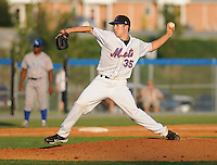 Pitcher Mark Picca (35) of the Kingsport Mets, Appalachian League affiliate of the New York Mets, in a game against the Burlington Royals on August 20, 2011, at Hunter Wright Stadium in Kingsport, Tennessee. Kingsport defeated Burlington, 17-14. (Tom Priddy/Four Seam Images)