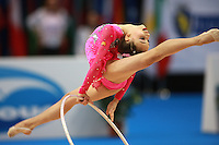 Alexandra Piscupescu of Romania (junior) split leaps during hoop event final at 2008 European Championships at Torino, Italy on June 7, 2008.  Photo by Tom Theobald.